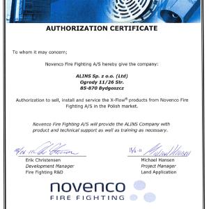 certyfikat autoryzacyjny Alins