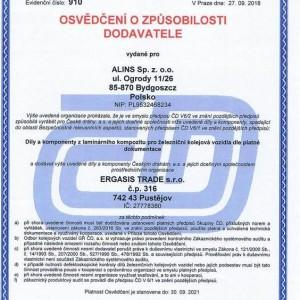 certyfikat dla Alins