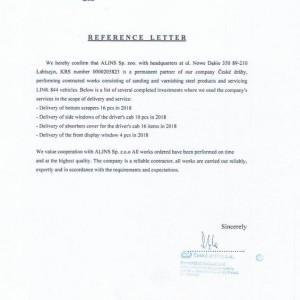 list referencyjny dla Alins